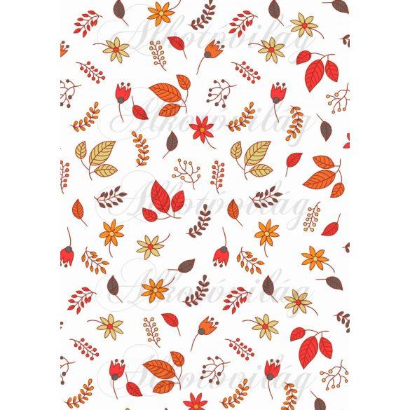 Őszi piros levelek virágokkal