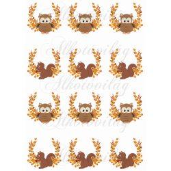 Narancssárga leveles ágak bagoly és mókus figurákkal KICSIBEN