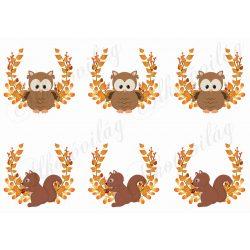 Narancssárga leveles ágak bagoly és mókus figurákkal