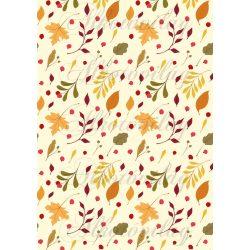Színes őszi levelek pasztell sárga alapon