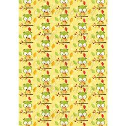 Zöld bagoly tölgylevelekkel sárga alapon