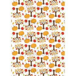 Őszi fák almákkal, tökökkel