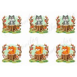 Cuki borz és mókus fatönkön