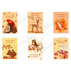 Őszi kártyák cuki állatkákkal, idézettel