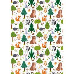Cuki erdőlakók fák között - róka, borz, maci, bagoly, csiga