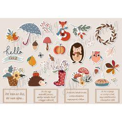 Őszi matricák rókával, levelekkel, idézetekkel