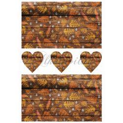 Őszi levelek narancsos színekben fa deszkákon + szívek