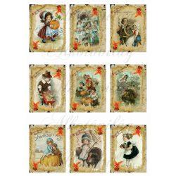 Őszi, hálaadási vintage kártyák
