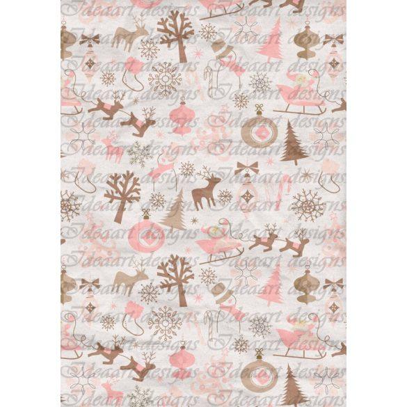 Barna – rózsaszín karácsonyi minták