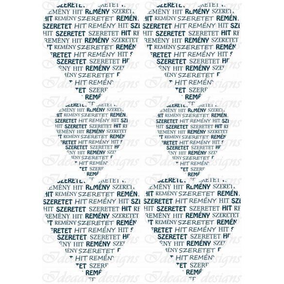 Hit, remény, szeretet szívek kékben