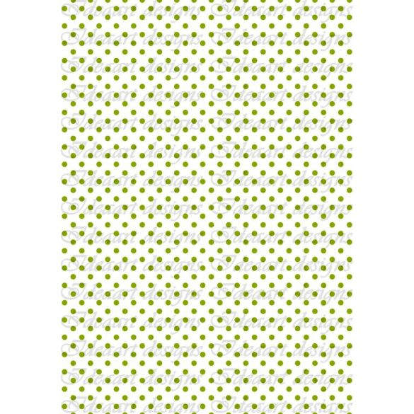 Zöld  pöttyök fehér alapon