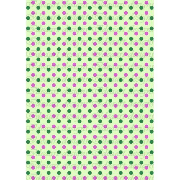 Zöld-lila pöttyök halványzöld alapon