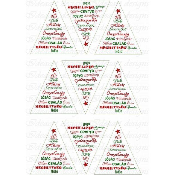 Karácsonyfa felirattal fenyődíszhez