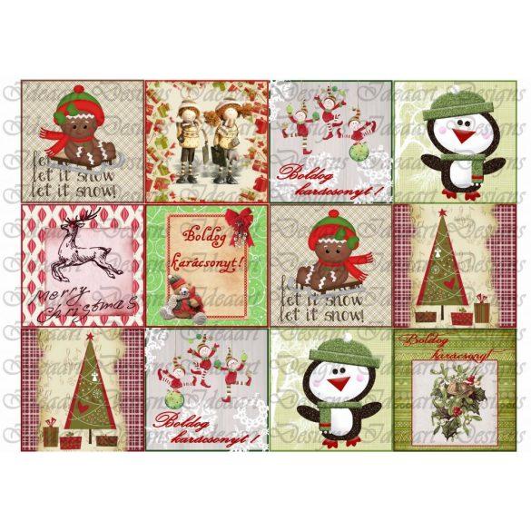 Karácsonyi négyzetek-12 db