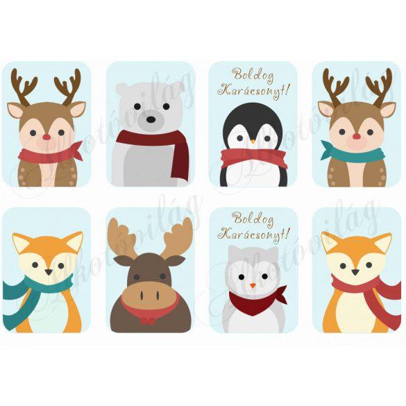 Karácsonyi állatok sálban