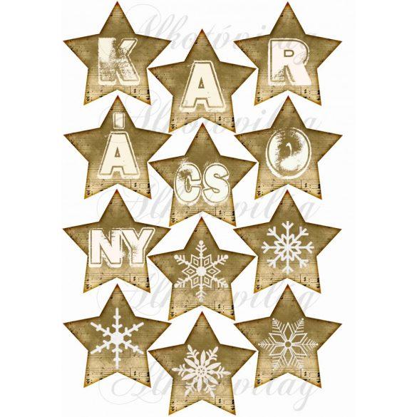 Kottás csillagok FEHÉR karácsony felirattal