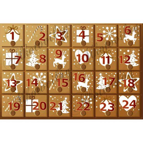 Adventi naptár mézeskalács díszekkel
