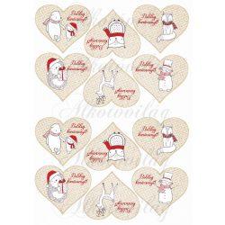 Karácsony fehér-piros állatkákkal szívekben BOLDOG KARÁCSONYT felirattal KICSIBEN