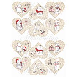 Karácsony fehér-piros állatkákkal szívekben KICSIBEN