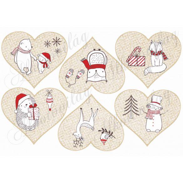 Karácsony fehér-piros állatkákkal szívekben