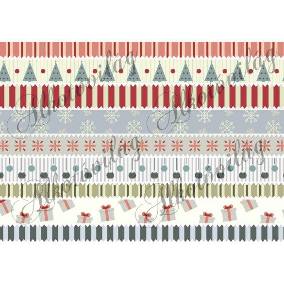 Bordűr karácsonyi mintákkal fektetve