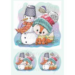 Róka hóemberrel 19 x 19 cm blokk + körökben