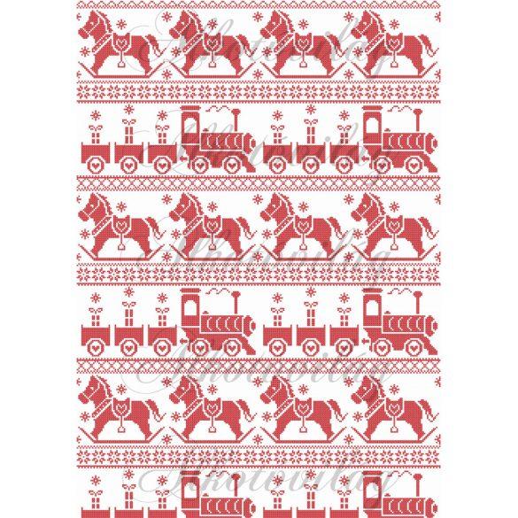 Karácsonyi piros sorminta - hintaló, vonat