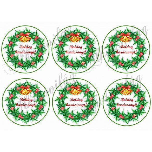 """Fenyőágas koszorú """"Boldog karácsonyt"""" felirattal"""