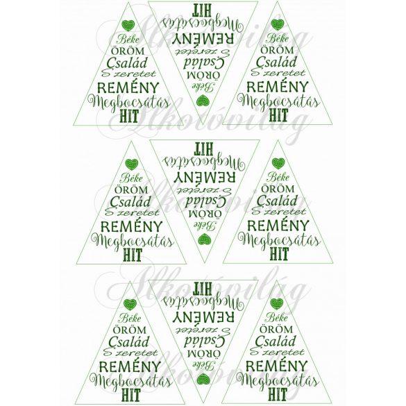 Feliratos háromszögek karácsonyfadíszhez – szívvel zöld