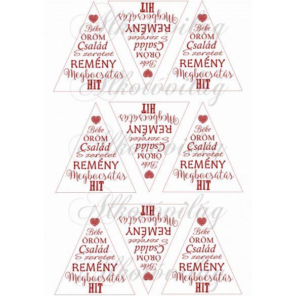 Feliratos háromszögek karácsonyfadíszhez – szívvel