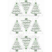 Feliratos háromszögek karácsonyfadíszhez – csillaggal zöldben