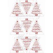Feliratos háromszögek karácsonyfadíszhez