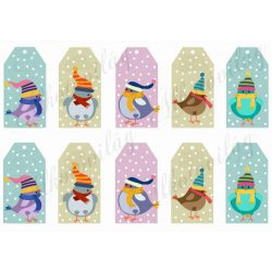 Tüneményes kismadarak sapiban, hóesésben üdvözlőkártyákon