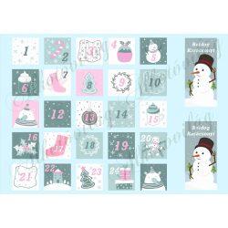 Szürke- rózsaszín adventi naptár pasztell színekkel