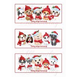 Boldog kutyás karácsonyt háromféle mintával