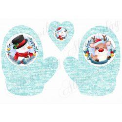 Cuki téli figurák mentás színű kötött kesztyűn