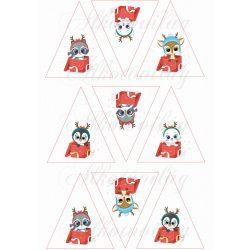 Díszdobozban lévő cuki karácsonyi állatkák - mosómaci, cica, őz, pingvin