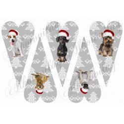 Hosszúkás kötött mintás szívek mikulássapkás kutyusokkal