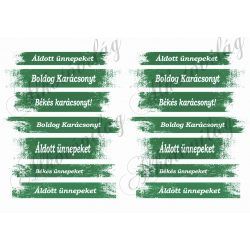 Karácsonyi feliratok zöldes csíkokban