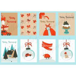 Retro ajándékkísérő kártyák barna-piros-fehér-kék színekkel