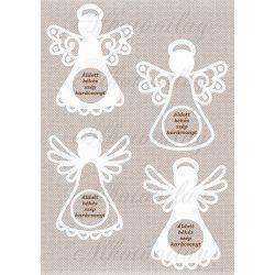Fehér angyalok szövet textúrán FELIRATTAL