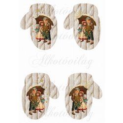 Kötött mintás kesztyű DUPLA vintage mintával, csillagokkal, hópelyhekkel
