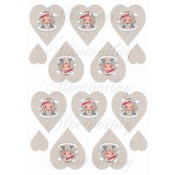 Szépséges angyalka mikulásvirágos koszorúval szövet textúrájú szíveken KICSIBEN