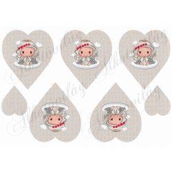 Szépséges angyalka mikulásvirágos koszorúval szövet textúrájú szíveken