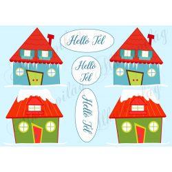 Téli házikók - Helló Tél feliratokkal