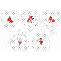 Cuki karácsonyi manók apró szürke szív mintás szívekben- SZEMEKKEL