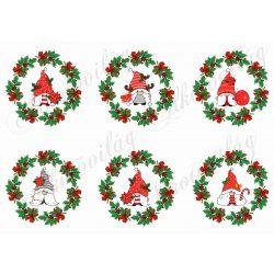 Cuki karácsonyi manók piros masnis koszorúkban
