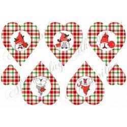 Cuki karácsonyi manók piros-zöld kockás szívekben