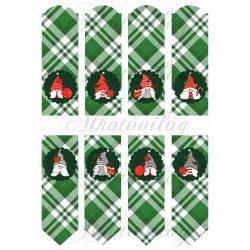 Cuki karácsonyi manók zöld kockás könyvjelzőkön