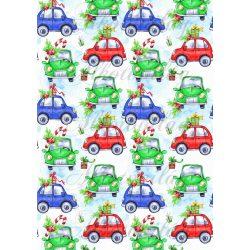 Karácsonyi kisautók kék és zöld színben